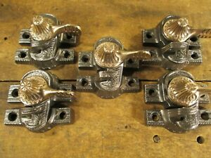 Lot Of Six Antique Eagle Claw Window Sash Locks W Brass Levers