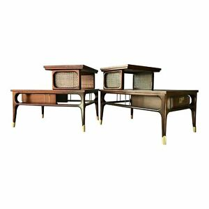 Restored Mid Century Modern Two Tier End Tables