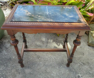 Victorian Black Marble Top Walnut End Side Table