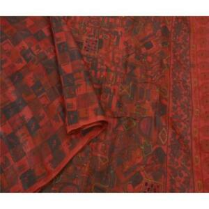 Tcw Vintage Saree Dark Red Pure Silk Hand Beaded Craft Fabric Premium Sari