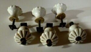 Porcelain Drawers Knobs Pulls Replacements Lot Of 6 Vintage White Gold