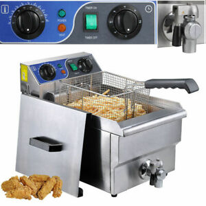 Commercial Restaurant Electric 10l Deep Fryer Stainless Steel W Timer Drain Be