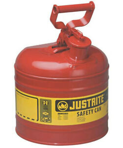 Justrite 7120100 Type i Safety Gas Can 2 Gallon Red