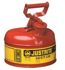 Justrite 7110100 Type 1 Safety Gas Can 1 Gallon Red