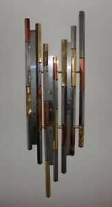 Abstract Metal Mid Century Brutalist Wall Sculpture Art Signed R H Berger 91