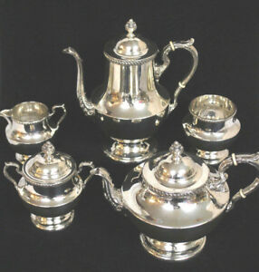 Vtg 925 Silver Tea Coffee Service Set 5 Pc Poole