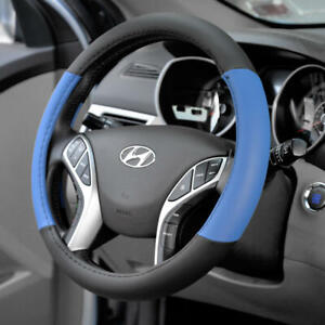 Two Tone Blue Pu Leather Non slip Steering Wheel Cover For Car Van Suv Truck