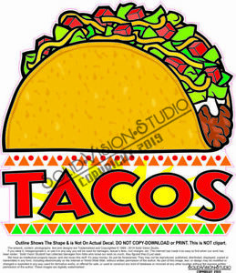 Tacos Concession Trailer Food Truck Mexican Weatherproof Vinyl Sticker Decal