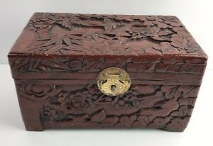 Vintage Carved Asian Box Camphor Chinese Jewelry Wood Floral Bird