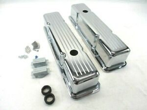 1958 86 Sbc Chevy Aluminum Ball Milled Valve Covers Tall Chrome Bpe 2001c