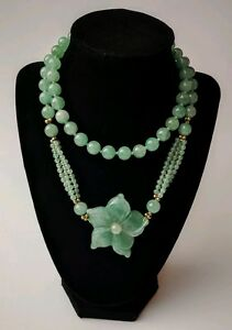 Antique Chinese Jade Carved Jadeite Necklace Flower Round Gold Bead Extra Long