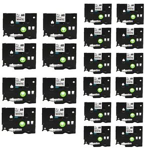 20pk Tze Tz 231 Black On White Label Tape For Brother P touch Pt d200 12mmx8m