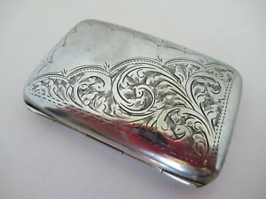 English Sterling Silver Cigarette Case Very Nice Dated 1919