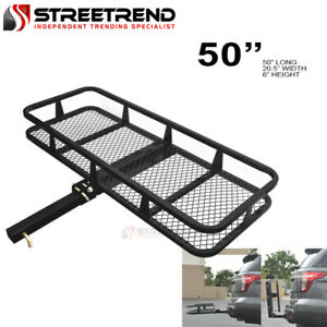 50 Blk Steel Foldable Trailer Tow Hitch Cargo Carrier Basket For 2 Receiver S8
