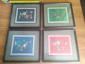 Vintage Silk Floral Hummingbird Butterfly Framed Embroidery Set Of 4