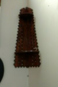Vintage Scalloped Wooden Hanging Corner 2 Shelf Knick Knack Shelf