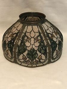 Antique John Morgan And Sons Stained Glass Panel Lamp Shade