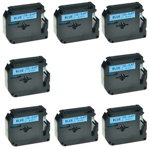 8pk Mk531 M k531 Black On Blue Label Tape For Brother P touch Pt 85 12mm 1 2
