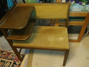 Vintage Solid Wood Gossip Telephone Bench Chair