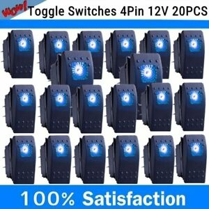 20pcs 4pin Marine Boat Car Rocker Toggle Switch Spst On off Led Light Bar 12v Bt