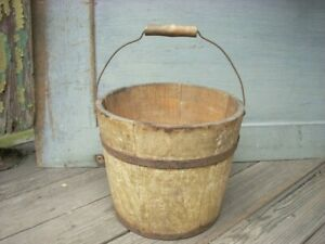 Antique Primitive 6 Small Early Oyster Paint Wood Staved Bucket Pail Signed