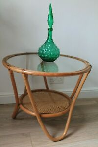 Vintage Retro Mid Century 1970s Boho Bamboo Coffee Side Table Round Glass Top