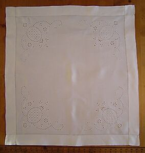 Antique Edwardian White Embroidered Square Linen Tablecloth Pineapples Floral
