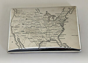 Stylish Thomae Co Gilt Sterling Silver Cigarette Case Engraved U S Map Ca 1940