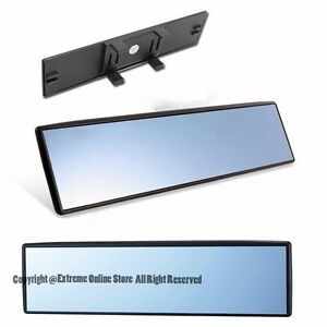 Universal 270mm Wide Angle Clip On Style Flat Blue Tinted Rear View Mirror