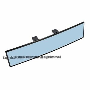 Universal 270mm Wide Angle Convex Curve Clip On Blue Tinted Rear View Mirror