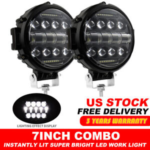 2x 7 Inch Led Work Light Bar Round Combo Driving Fog Headlight Truck Off Road