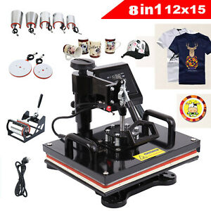 12x15 10in1 T shirt Hat Cap Plate Heat Press Machine Sublimation Swing away Diy