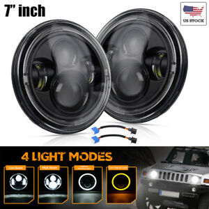 Pair 100w 7 Inch Cree Led Headlights Dot Approved For Jeep Wrangler Tj Jk 96 17