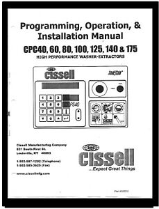 Cissell Commercial Washers Programming Manual For Cpc Series