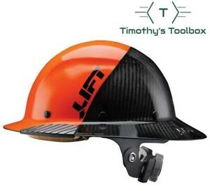 Lift Safety Hdf 50c19oc Dax 50 50 Carbon Fiber Full Brim Hard Hat Orange black