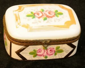 Antique French Porcelain Hinged Trinket Box Floral Exceptional