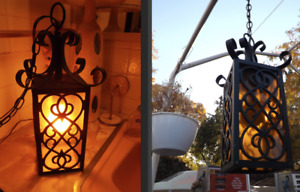 Swag Lamp Spanish Revival Porch Amber Hanging Gothic Pendant Mid Century Vintage