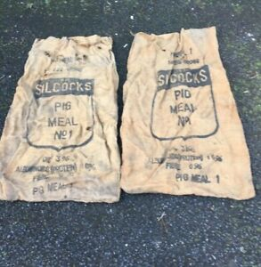 2 X Vintage Pig Animal Feed Large Sacks
