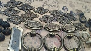 Vintage Architectural Salvage Hardware Lot Of 26 Brass Pulls Key Holes