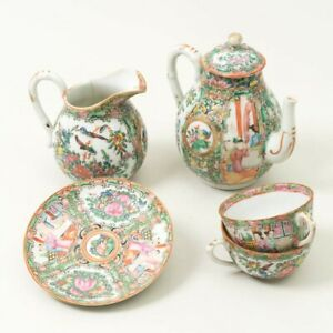 Vintage Chinese Rose Medallion Hand Painted Porcelain Tea Set Creamer Cups Pot