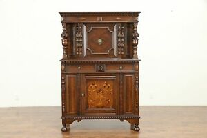 English Tudor Style Antique China Or Bar Cabinet Marquetry Panel 30950