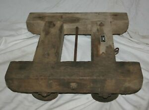 Vintage Wood W Cast Iron Wheels U S Navy Contract No A 1122 Rolling Cart Dolly
