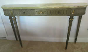 Antique Louis Xvi Style Green Onyx Top Console