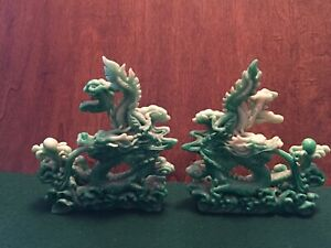 Pair Of Chinese Dragon Statues Figurines In Green And Cream Made In China