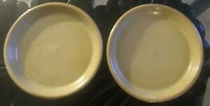 Pair Of Ancient Or Antique Chinese Or Korean Celadon Low Stoneware Bowls