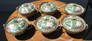 6 Antique Covered Rose Medallion Porcelain Chinese Bowls W Handles Rice Soup
