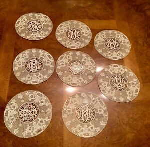 Antique 19th C Hand Made Lace Doily Doilies Coasters 8 Pcs