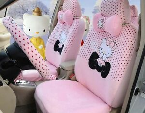 Pink Cartoon Hello Kitty Universal Car Seat Cover Cushion Accessory Plush Tla3