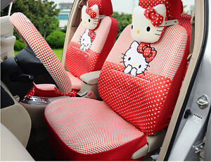 18pcs Hello Kitty Universal Cute Car Seat Covers Plush Seat Covers Car Covers