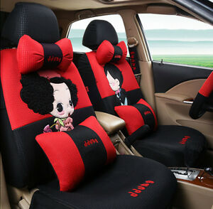19pcs New 1 Set Luxury Cartoon Lovers Car Seat Cover Cute Car covers Universal